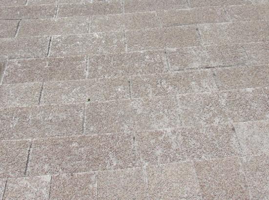 Asphalt shingle roof with missing shingle granules.