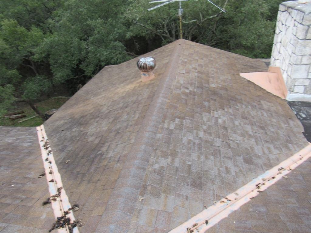 Bald spots on an asphalt shingle roof.