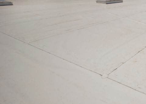 White TPO flat commercial roof.