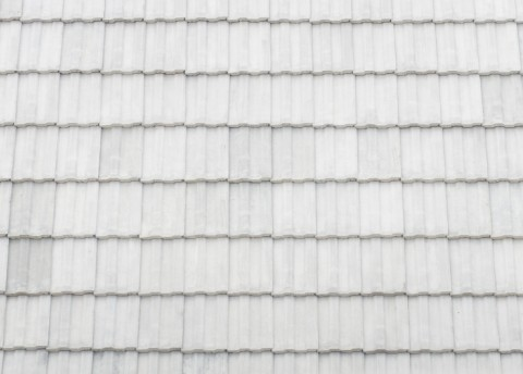 White silicone elastomeric roof coating over roof substrate.