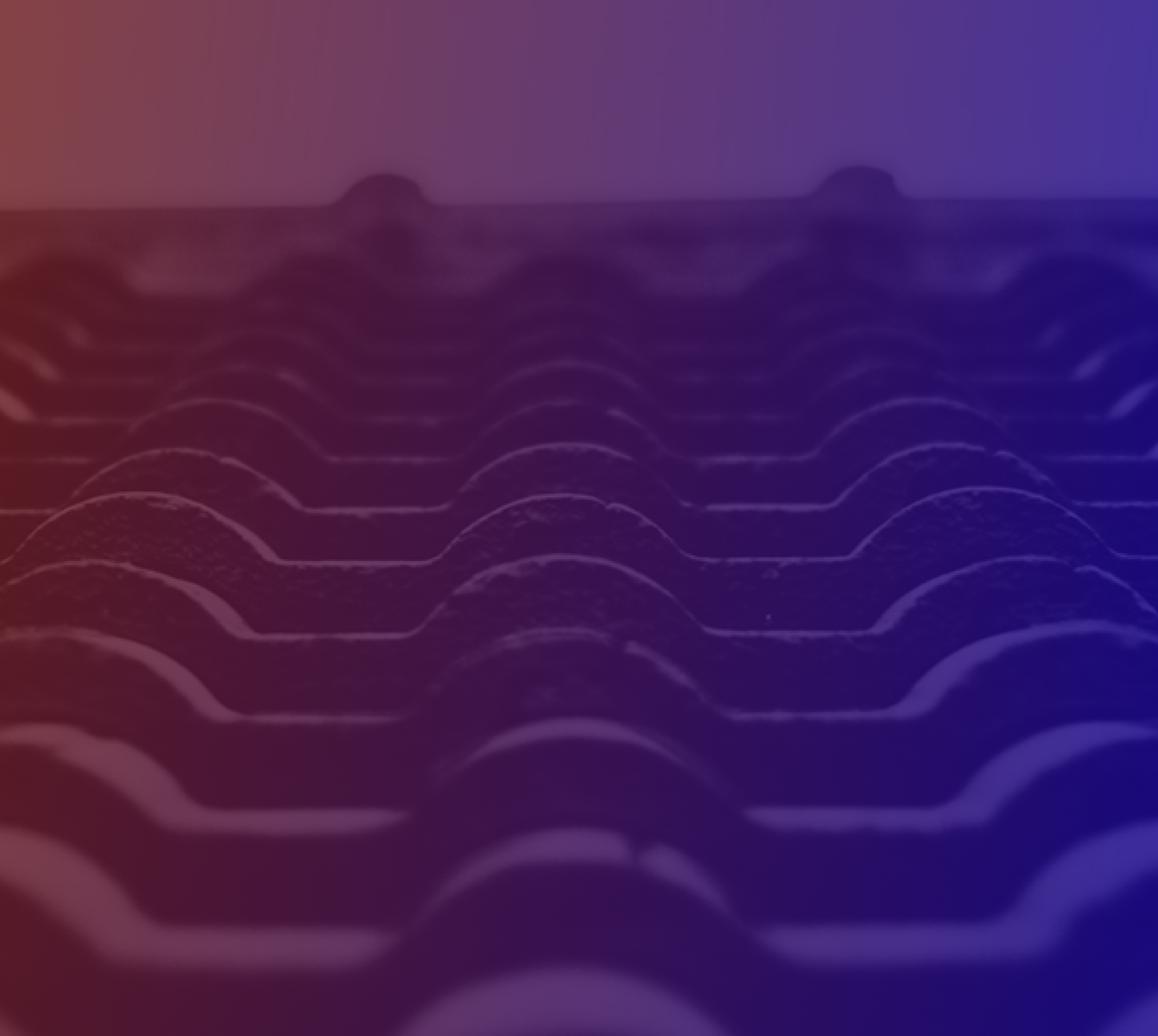 Gradient background of a tile roof with a purple and blue overlay.